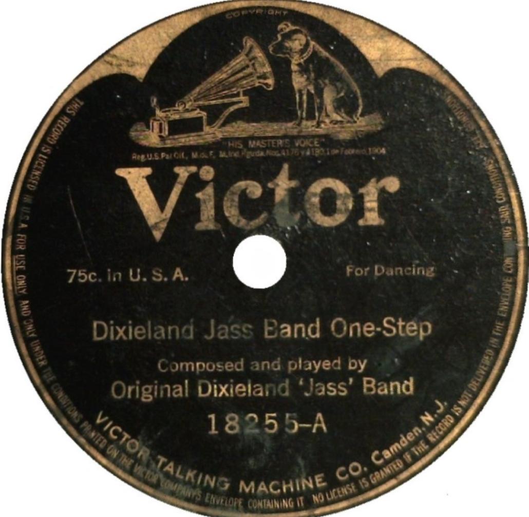 Lato A e lato B del primo disco della The Original Dixieland Jass Band del 1917