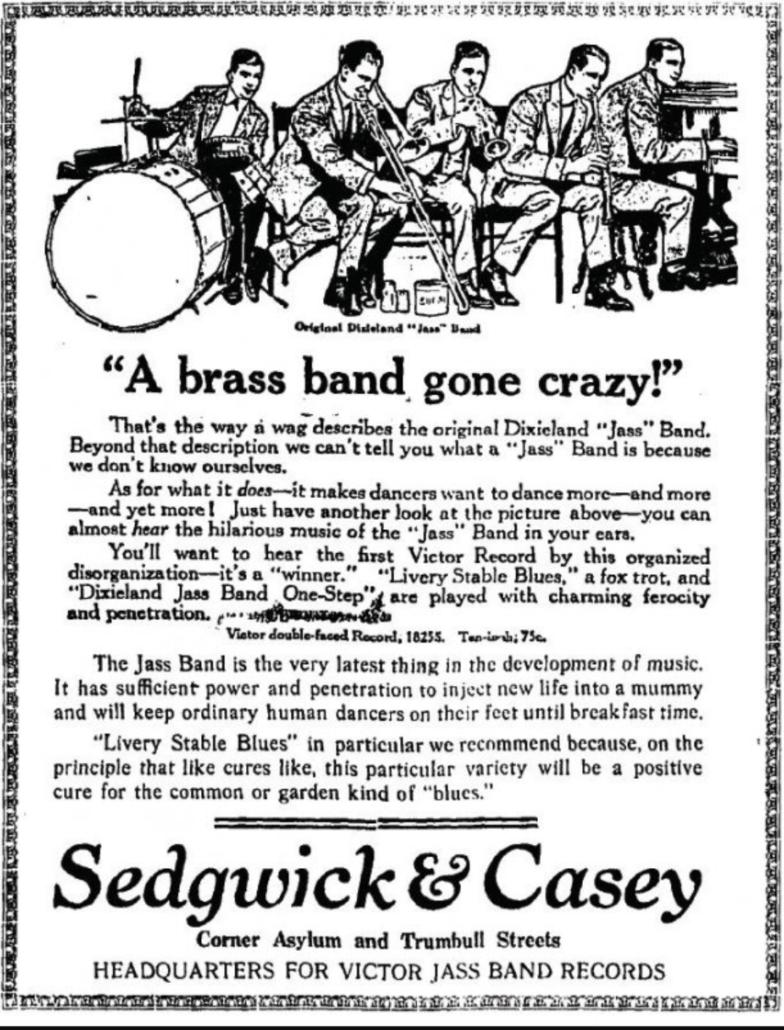 """Manifesto riportante la scritta originale """"Jass"""" poi sostituita con """"Jazz"""